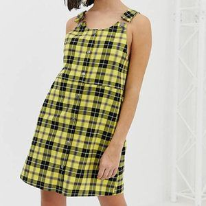 Monki Overall Jumper Dress in Plaid Check Yellow